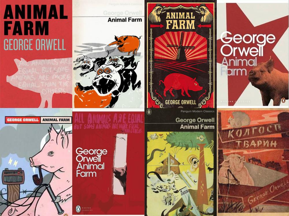 Colagens com várias capas de edições do livro A Revolução dos Bichos, em línguas diferentes.