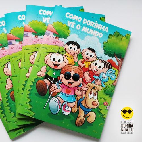 HQ da Turma da Mônica em Braille, parceria da Fundação Dorina Nowill com a Mauricio de Sousa Produções.