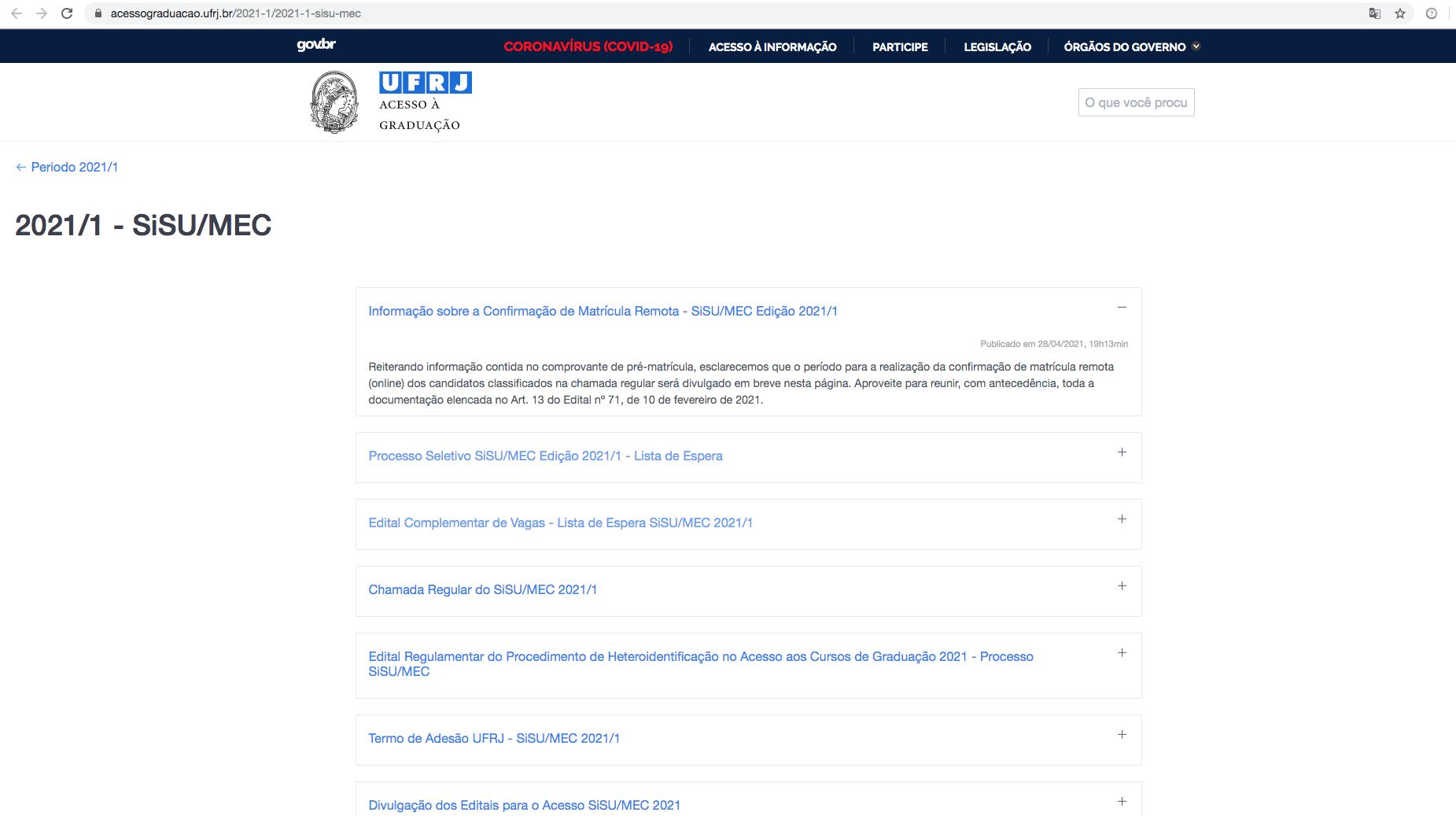 Print da tela do site da UFRJ, na parte do Sisu