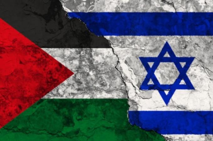 Bandeiras da Palestina e Israel