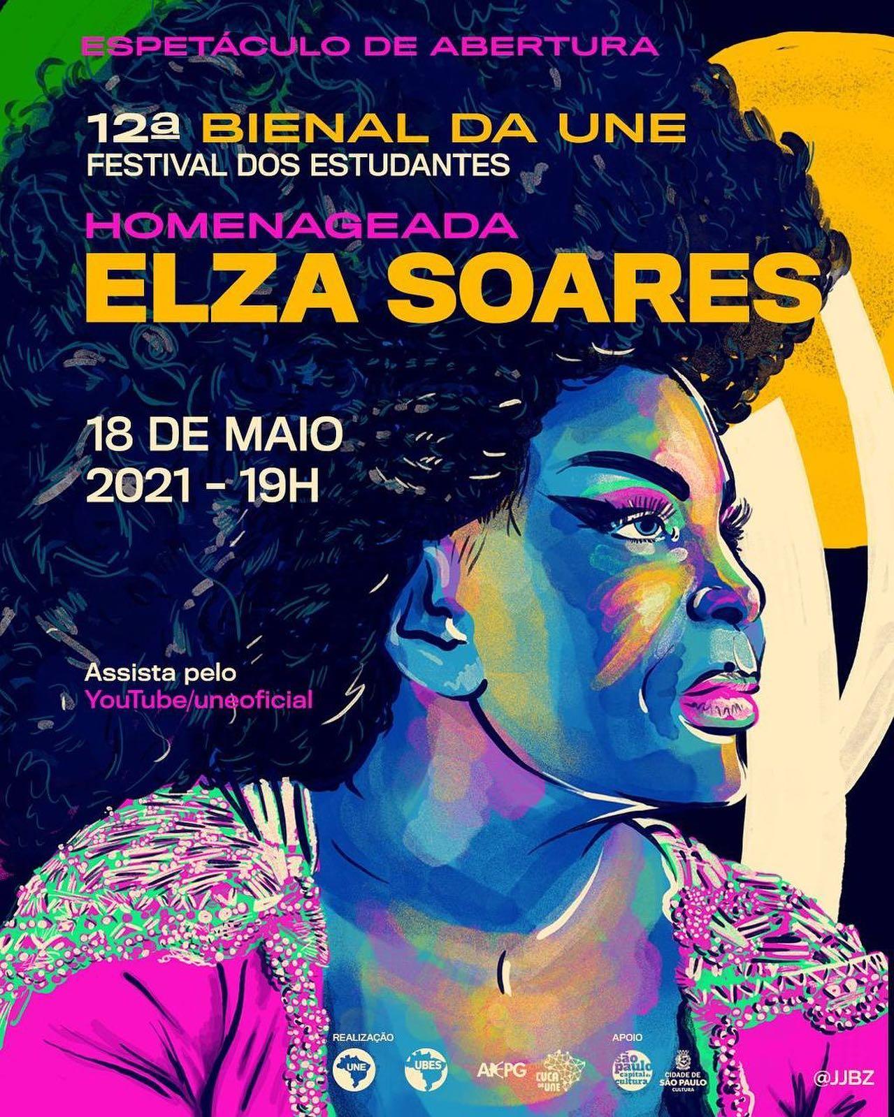 Cartaz da abertura da 12ª Bienal, com Elza Soares como homenageada.