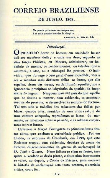 Edição de junho de 1808 do Correio Braziliense