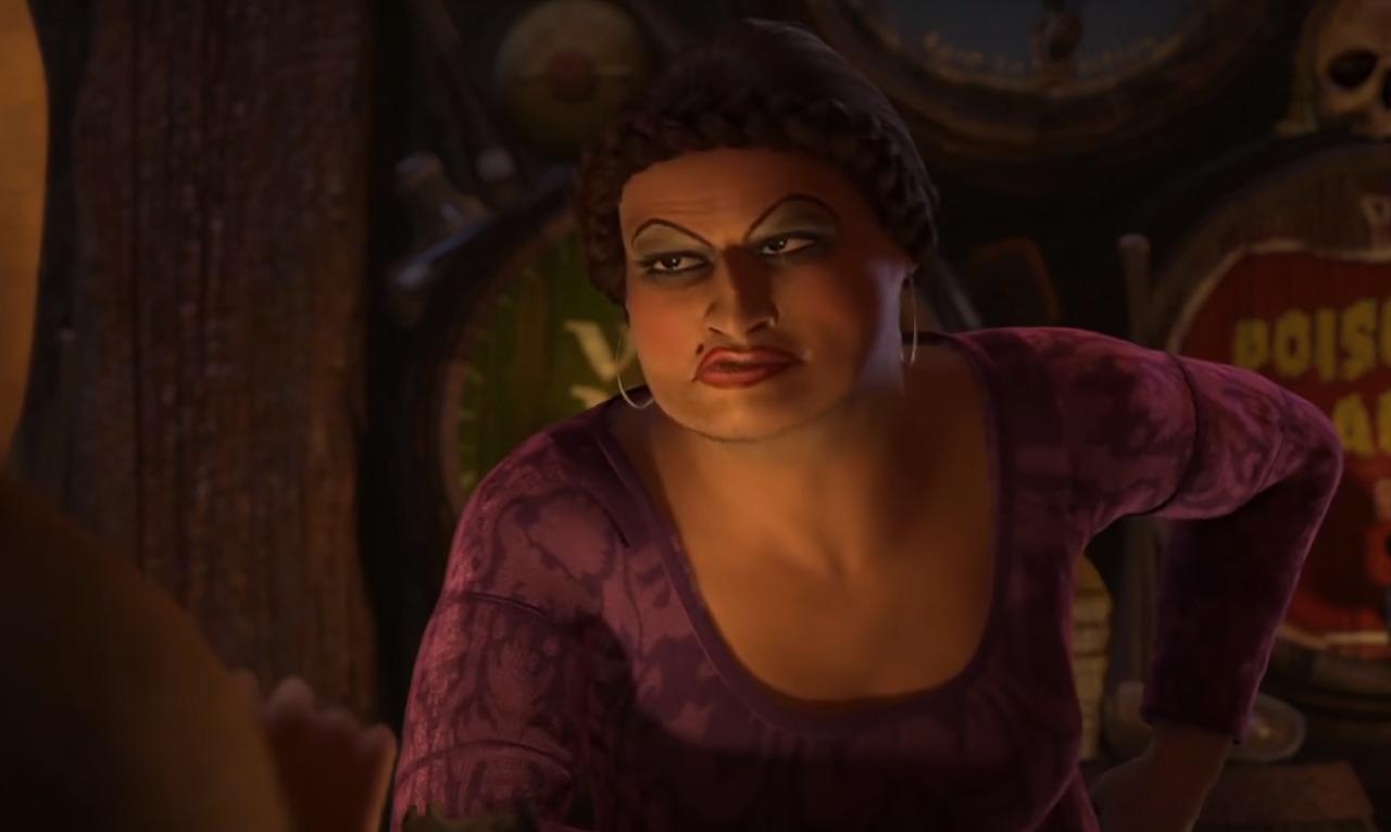 Doris, a irmã de Cinderella. Em Shrek, é uma personagem trans.