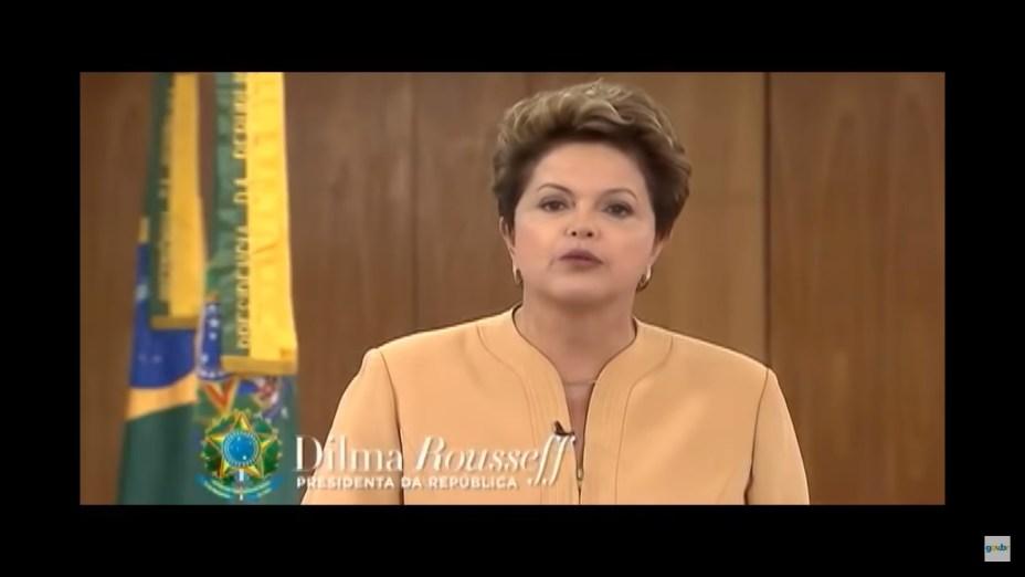 A presidente Dilma Rousseff faz um pronunciamento prometendo fazer um pacto com governadores e prefeitos com objetivo de melhorar as áreas de transporte, educação e saúde