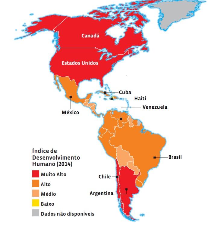 Mapa temático sobre o IDH do Brasil