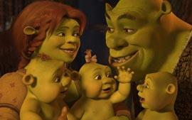 Shrek, Fiona e seus filhos trigêmeos