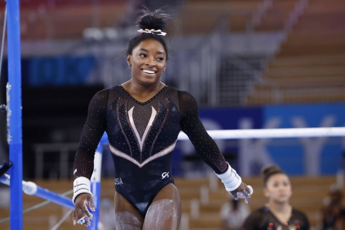 Simone Biles treina na Olimpíada de Tóquio