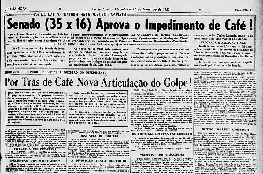 Jornal Ultima Hora noticia Impeachment de Café
