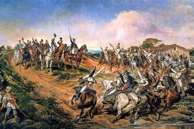 Independência ou Morte, por Pedro Américo, óleo sobre tela, 1888. Exposta no Museu Paulista