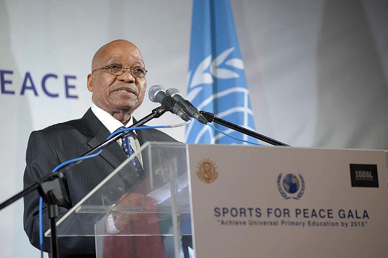 Ex-presidente da África do Sul, Jacob Zuma, no Sports for Peace Gala. Joanesburgo, 2010.