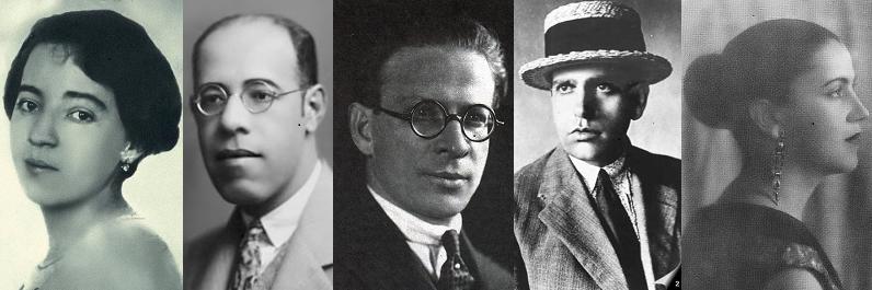 O Grupo dos Cinco do modernismo brasileiro: Anita Malfatti, Mário de Andrade, Menotti del Picchia, Oswald de Andrade e Tarsila do Amaral.