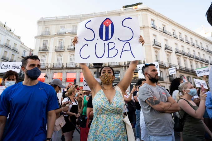 Rally In Support Of The Protests In Cuba In Spain