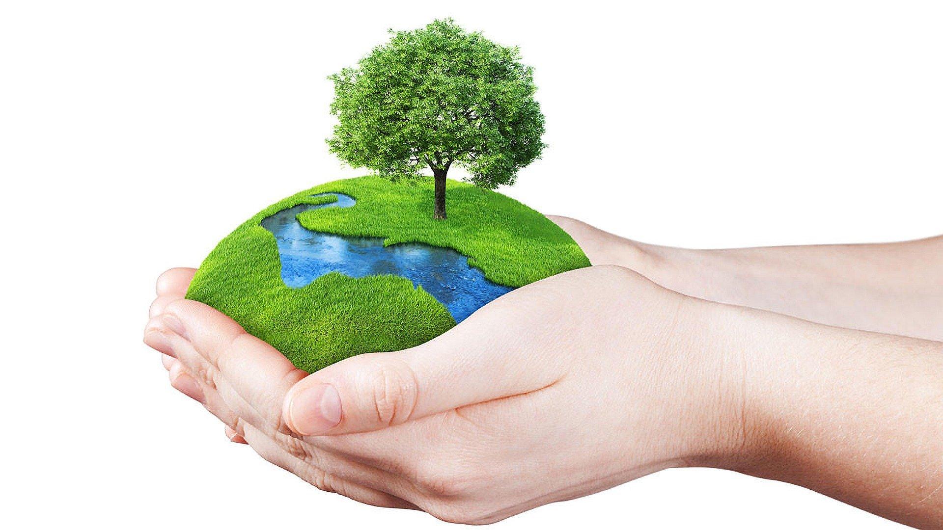 Ilustração de mãos segurando a Terra com cuidado